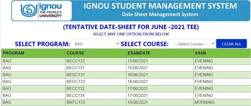 IGNOU date sheet June 2021