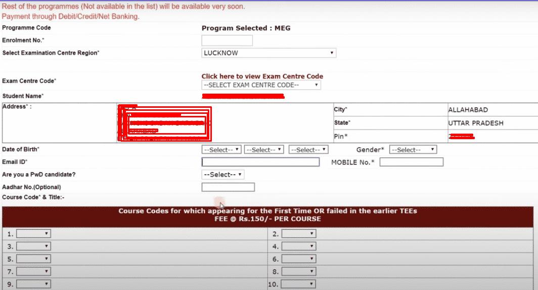 IGNOU Exam Form fill up